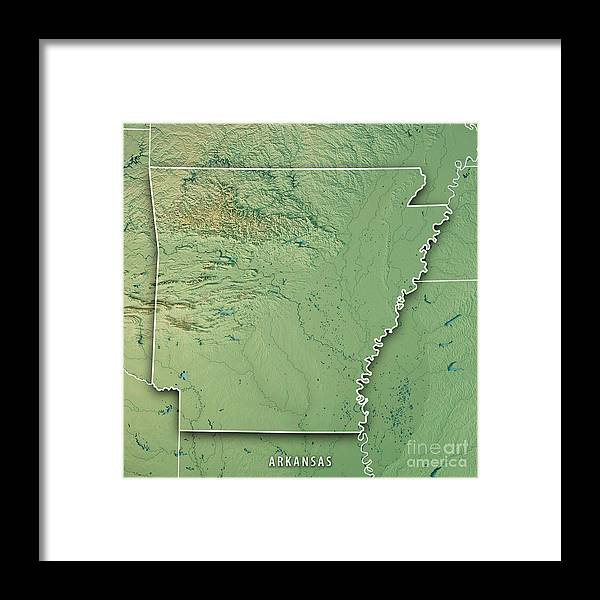 Arkansas State Usa 3d Render Topographic Map Border Framed Print by ...