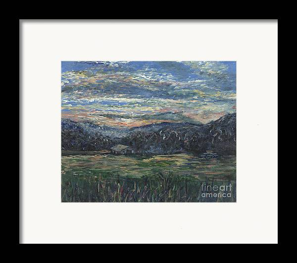 Impressionism Framed Print featuring the painting Arkansas Sunrise by Nadine Rippelmeyer