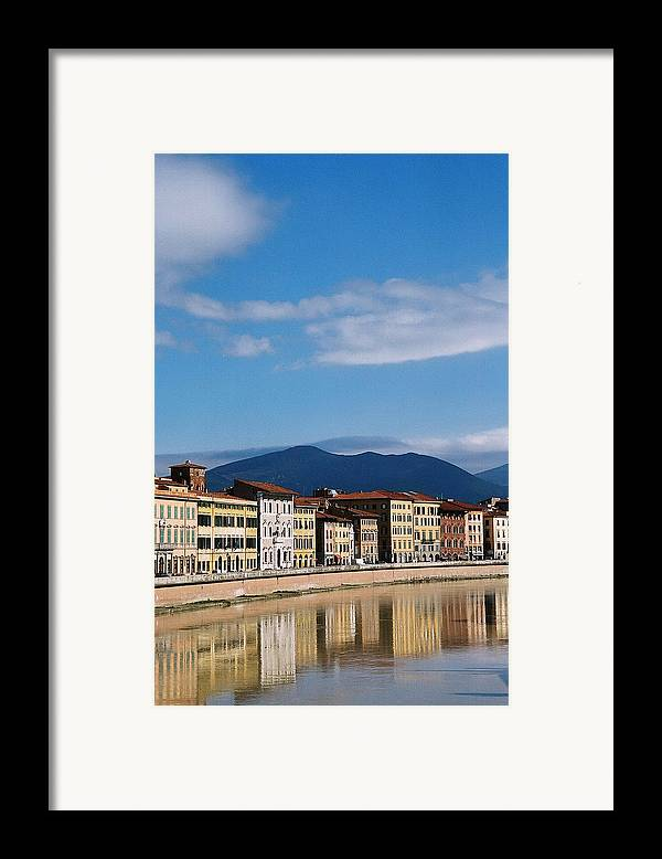 Pisa Framed Print featuring the photograph Arno River Pisa Italy by Kathy Schumann