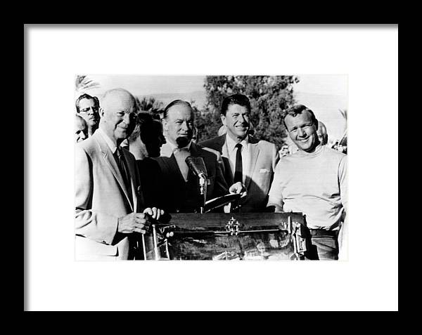 1960s Candids Framed Print featuring the photograph Arnold Palmer Right, Receives The Bob by Everett