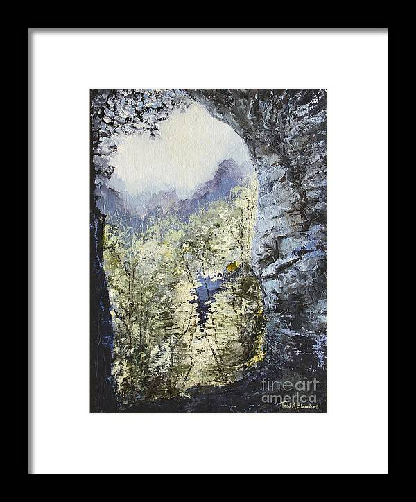 Landscape Framed Print featuring the painting Around The Bend by Todd Blanchard