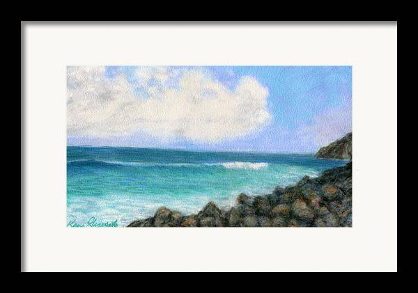 Rainbow Colors Pastel Framed Print featuring the painting Around The Point by Kenneth Grzesik