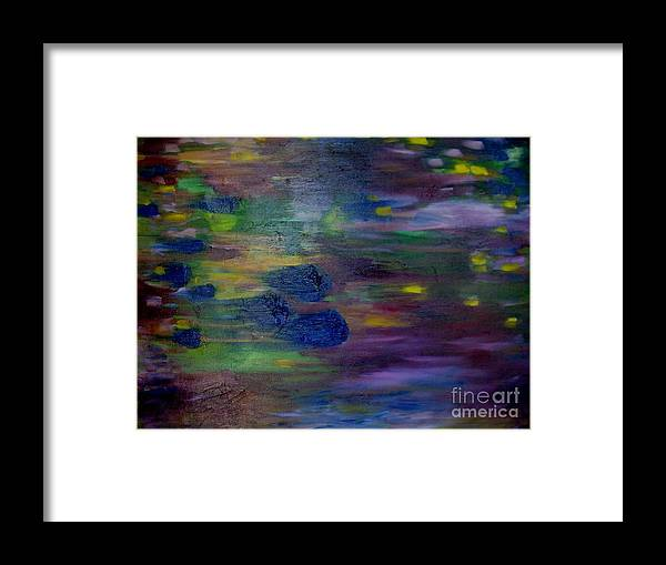 Abstract Framed Print featuring the painting Around the Worlds by Laurie Morgan