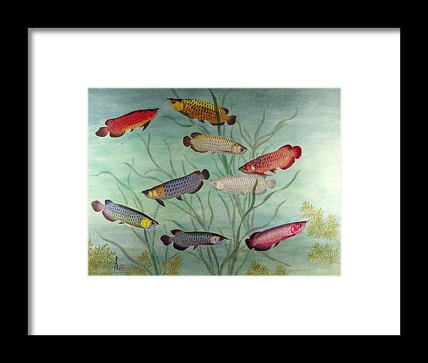 Framed Print featuring the painting Arowanas by Ying Wong