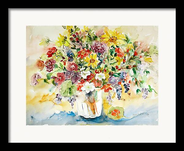 Watercolor Framed Print featuring the painting Arrangement IIi by Alexandra Maria Ethlyn Cheshire