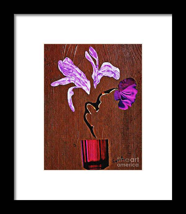 Floral Framed Print featuring the mixed media Arrangement In Purple by Sarah Loft
