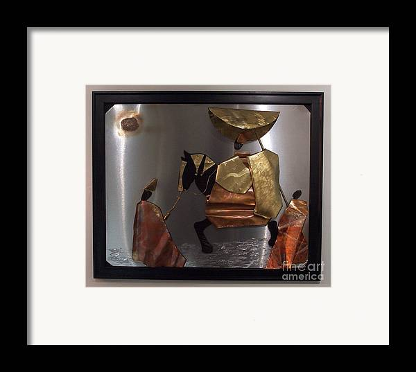 African King Scene Framed Print featuring the sculpture arrival of the Oba by Jeff Williams