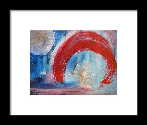 Abstracts Framed Print featuring the painting Arrival Time by Lindie Racz
