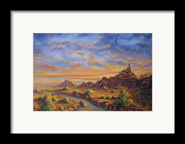 Desert Landscape Framed Print featuring the painting Arroyo Sunset by Thomas Restifo