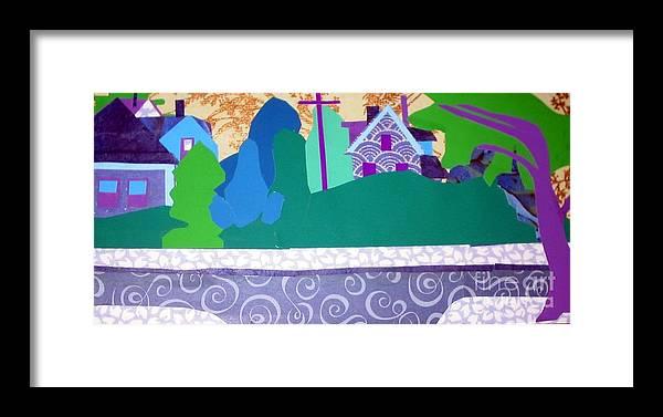 Landscape Framed Print featuring the mixed media Art Colony by Debra Bretton Robinson