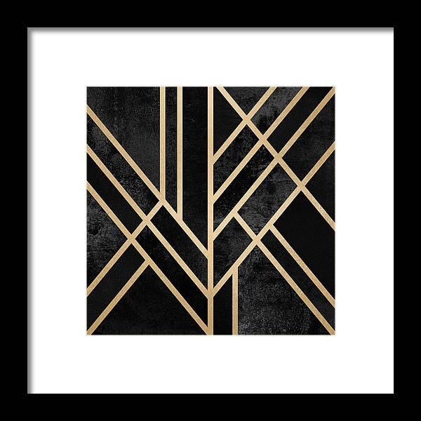 Digital Framed Print featuring the digital art Art Deco Black by Elisabeth Fredriksson