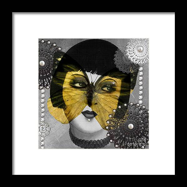 Art Deco Framed Print featuring the digital art Art Deco Butterfly Woman by Mindy Sommers