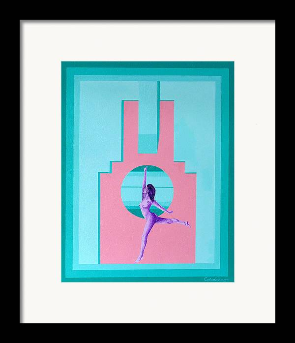 Art Deco Framed Print featuring the painting Art Deco Gal by James Cordasco