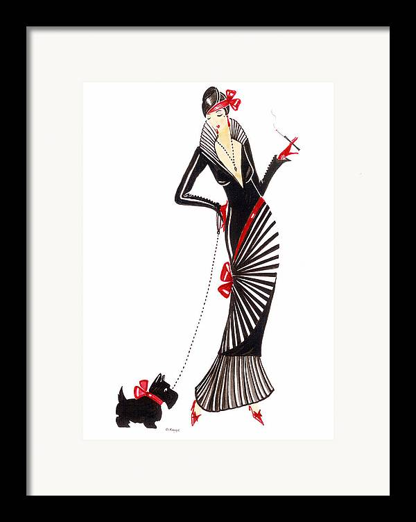 art deco lady darcey framed print by di kaye. Black Bedroom Furniture Sets. Home Design Ideas
