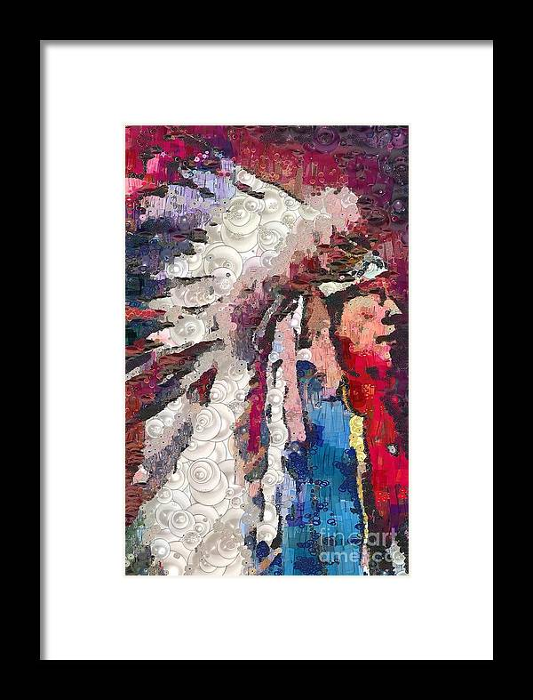 Art Indian Chief Pearlesques In Fragments Framed Print featuring the painting Art Indian Chief Pearlesques In Fragments by Catherine Lott
