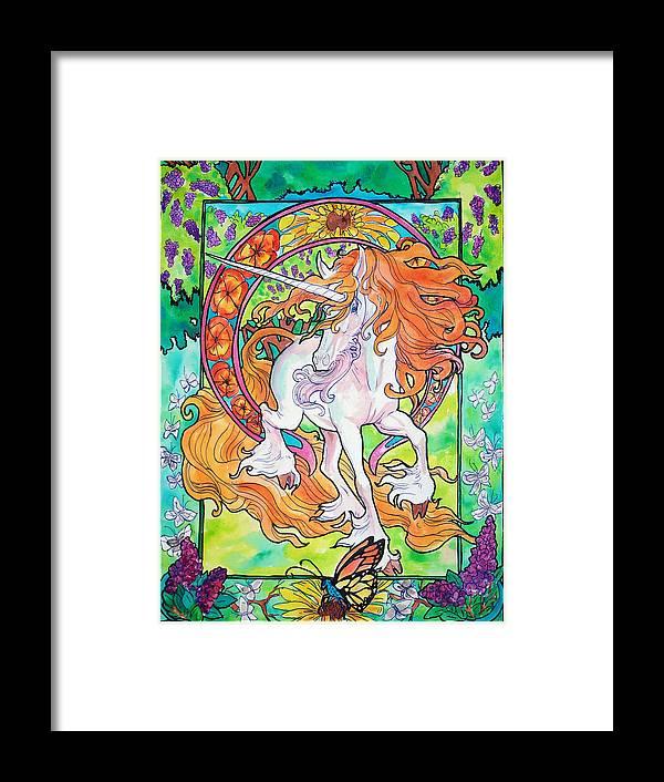 Unicorn Framed Print featuring the painting Art Nuevo Unicorn by Jenn Cunningham