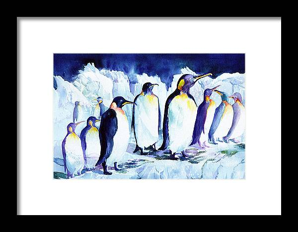 Penquins Framed Print featuring the painting Arctic Penquins by Connie Williams