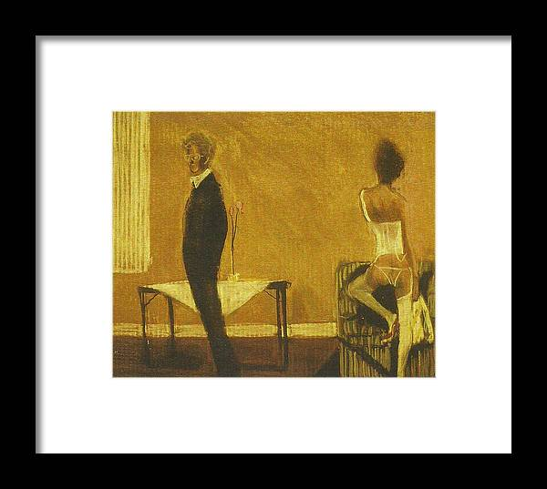 Realism Framed Print featuring the painting Artist And Model In White Lingerie by Harry Weisburd