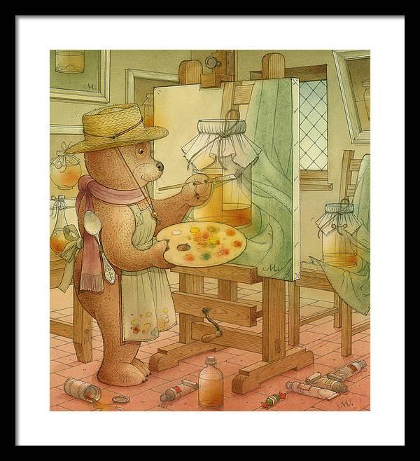 Artist Painting Bear Animals Honey Still-life Framed Print featuring the painting Artist by Kestutis Kasparavicius