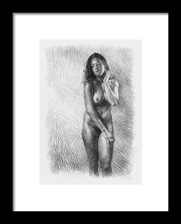 Artistic Framed Print featuring the drawing Artistic Nude by Peter Jochems