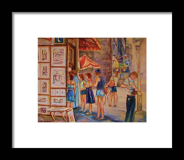 Old Montreal City Scenes Framed Print featuring the painting Artists Corner Rue St Jacques by Carole Spandau