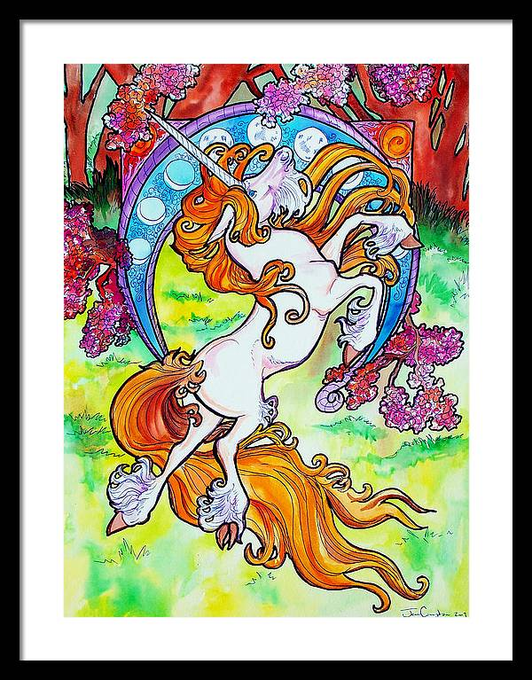 Unicorn Framed Print featuring the painting Artsy Nouveau Unicorn by Jenn Cunningham