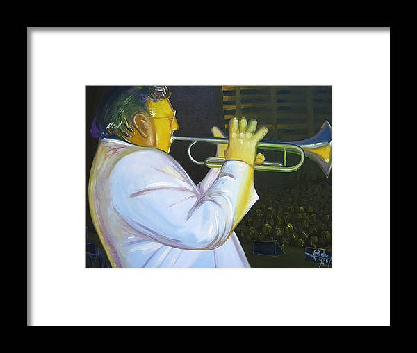 Oil Canvas Painting Modern Colorfull Impresionism Portray Jose Julio Framed Print featuring the painting Arturo by Jose Julio Perez