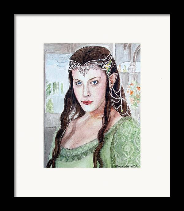 Portraits Framed Print featuring the painting Arwen by Mamie Greenfield
