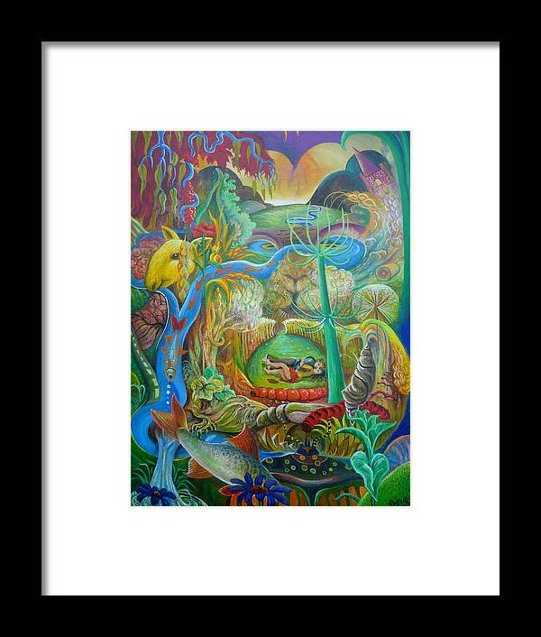 Fish Sheep Beetle Semi Abstract Landscape Colour Peter Rodulfo Cocoon Caterpillar Corn Framed Print featuring the painting As The Fish Swam By by Peter Rodulfo