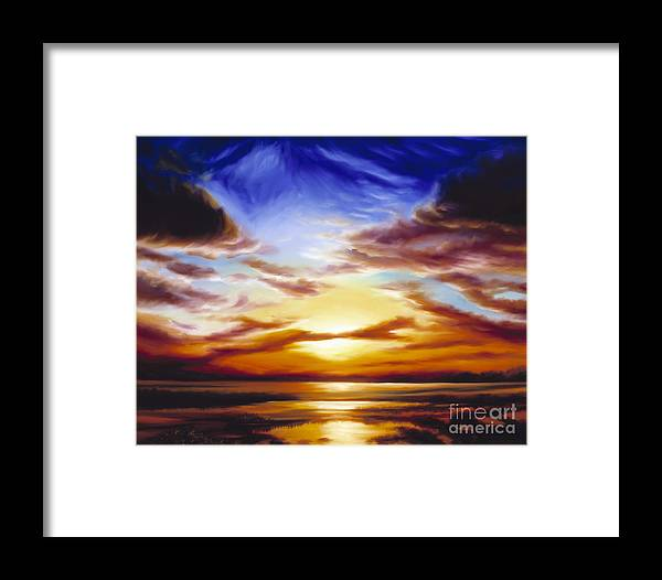 Skyscape Framed Print featuring the painting As The Sun Sets by James Christopher Hill