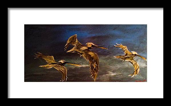 Pelican Framed Print featuring the painting As We Fly by Barry Knauff