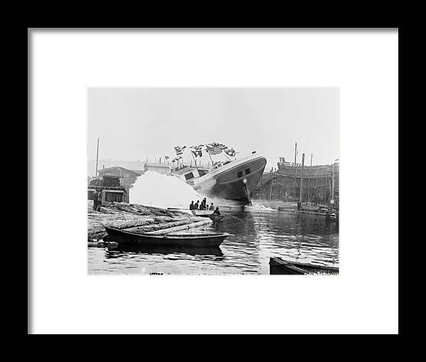 War Framed Print featuring the painting Asahel Curtis, 1874-1941, Launching Of The Minnie A. Cain by Asahel Curtis