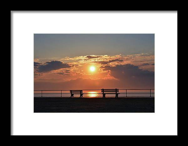 Asbury Framed Print featuring the photograph Asbury Park Boardwalk Sunrise by Bill Cannon