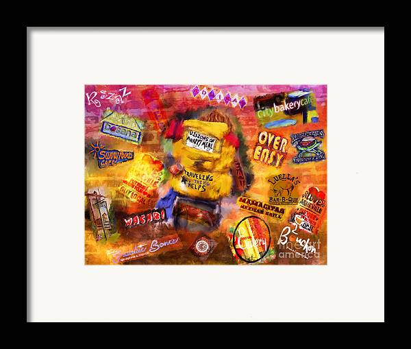 Asheville Framed Print featuring the mixed media Asheville Eats by Marilyn Sholin