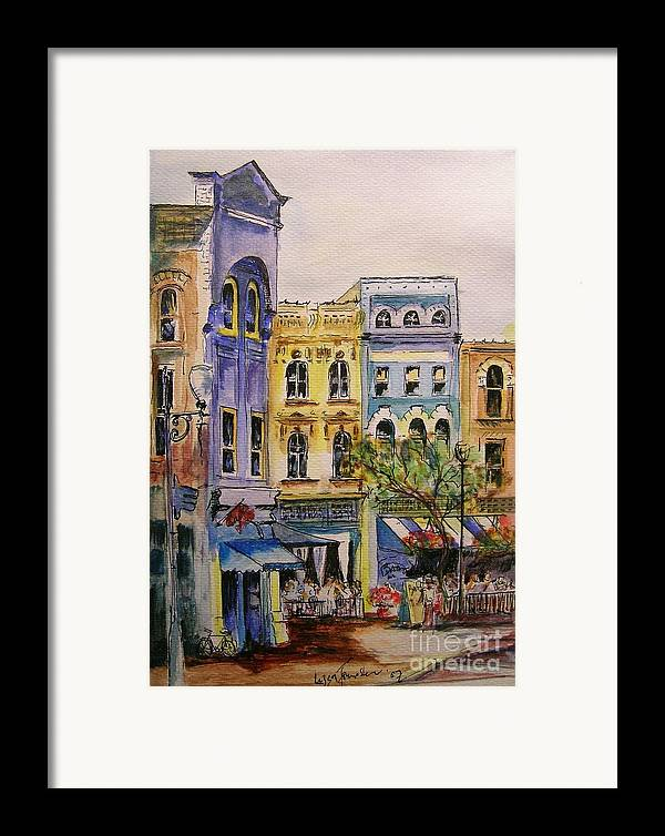 Townhouses Framed Print featuring the painting Asheville by Lizzy Forrester