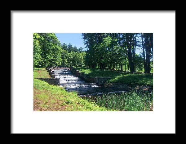 Ma Massachusetts Summer Outside Outdoors Nature Natural New England Newengland Usa U.s.a. Forest Woods Secluded River Stream Water Fall Falls Waterfall Trees Brian Hale Brianhalephoto Long Exposure Longexposure Steps Stairs Softfocus Soft Focus Ashland State Park Framed Print featuring the photograph Ashland State Park 1 by Brian Hale