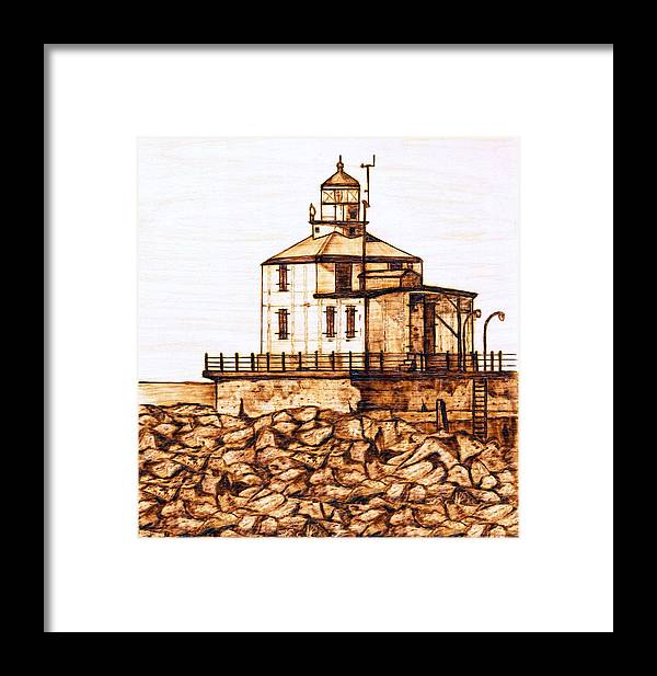 Lighthouse Framed Print featuring the pyrography Ashtabula Harbor by Danette Smith