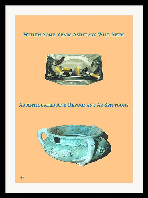 Anti-smoking Posters Framed Print featuring the digital art Ashtrays And Spittoons by Jose Gomis
