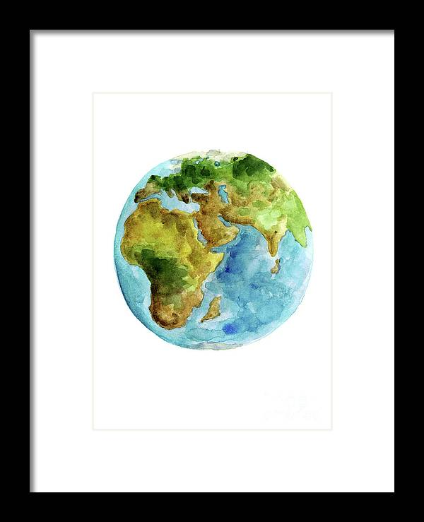 Planet Earth Asia Map Poster Africa Map Watercolor Painting Blue Green Yellow Globe Art Print Framed Print