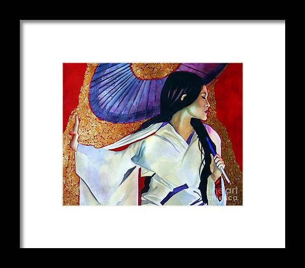Portrait Framed Print featuring the painting Asian 2 by Gail Zavala