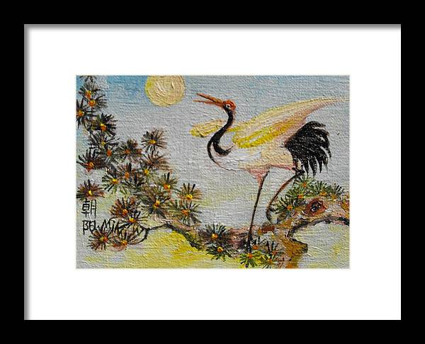Asian Framed Print featuring the painting Asian Crane 3 by Min Wang
