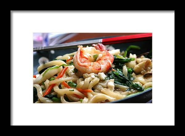 Shrimp Chopsticks Noodles Dinner Asian Framed Print featuring the photograph Asian Delight by Linda Russell