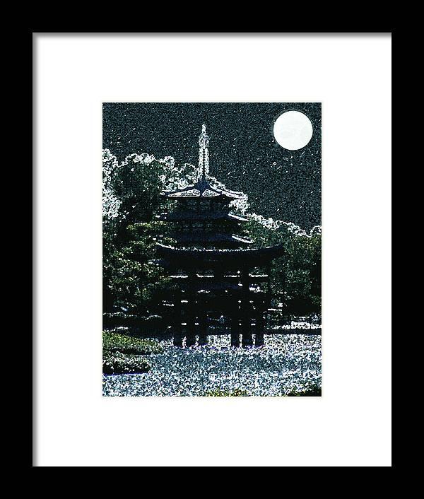 Full Moon Framed Print featuring the mixed media Asian Moon by Shirley Heyn