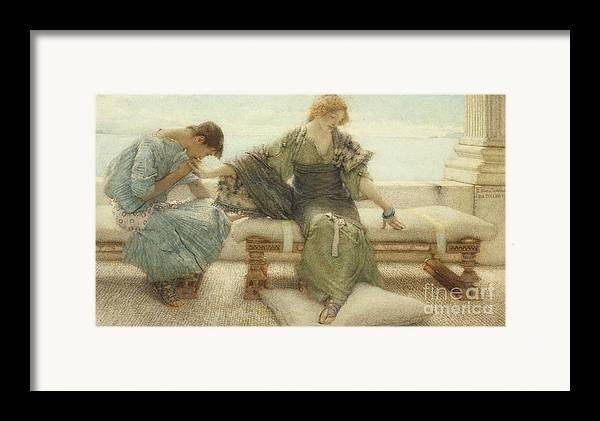 Ask Framed Print featuring the painting Ask Me No More....for At A Touch I Yield by Sir Lawrence Alma-Tadema
