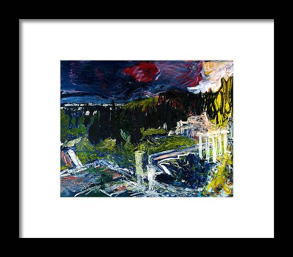 Landscape Sun Red Archeology Cypresses Framed Print featuring the painting Asklepion by Joan De Bot