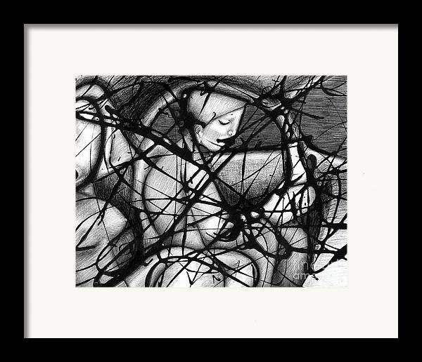 Pareidolia Chance Random Potential Images In Clouds Abstract Extractionism Scribblism Scribble Art Framed Print featuring the painting Asleep At The Wheel by Ismael Cavazos