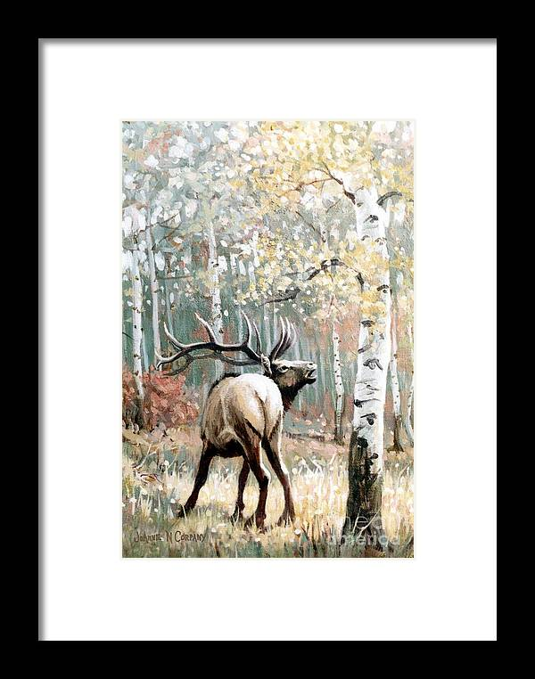 Elk Framed Print featuring the painting Aspen Elk by JoAnne Corpany