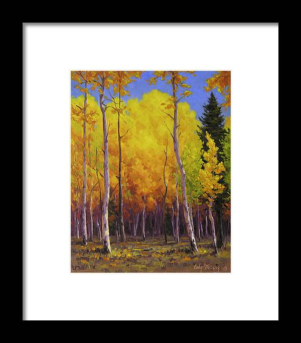 Landscape Framed Print featuring the painting Aspen Glow by Cody DeLong