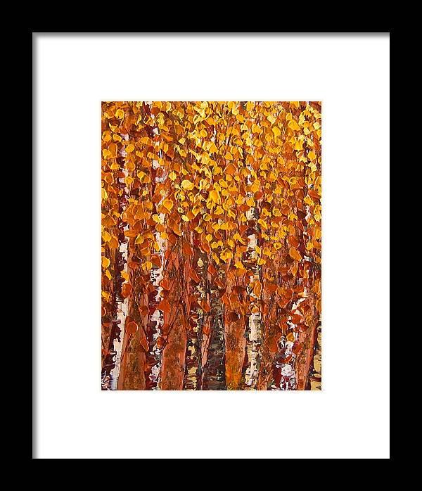 Aspen Framed Print featuring the painting Aspen Grove by Wanda Pepin