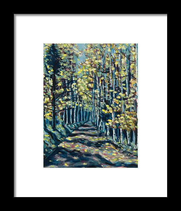 Landscape Framed Print featuring the painting Aspen Path by Steve Lawton